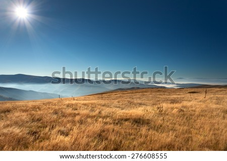 View from the mountain Stara Planina in Serbia at idyllic sunny day above the clouds.
