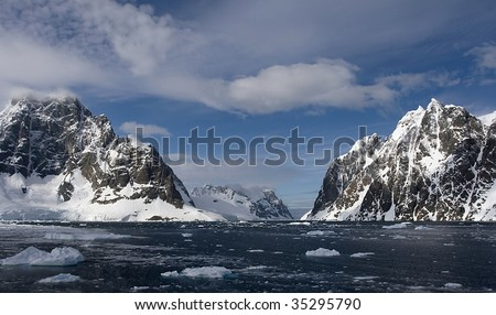 View from the north into Lemaire Channel, Antarctica