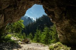 View from the Oblaskowa cave through on the Koscieliska valley. Polish Western Tatras, Lesser Poland