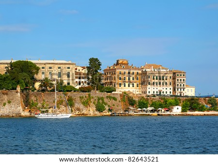 View from The Old Harbour in Corfu island in Greece