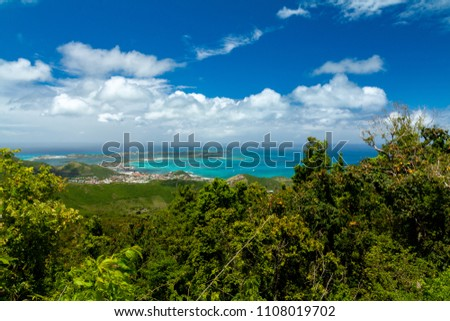 View from the Pic Paradis,highest point of the island St. Martin in Caribbean, West Indies on the town Marigot. The Capital of the French side of island.