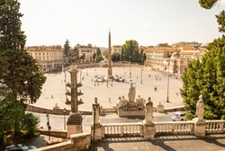 view from the Pincio of Piazza del Popolo urban square with an Egyptian obelisk of Ramesses II in the center in Rome, Lazio, Italy