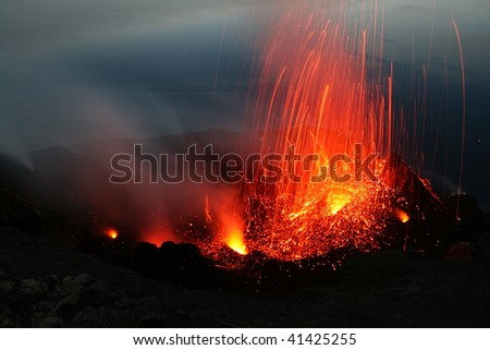 View from the Pizzo to the erupting crater area of volcano Stromboli in Italy
