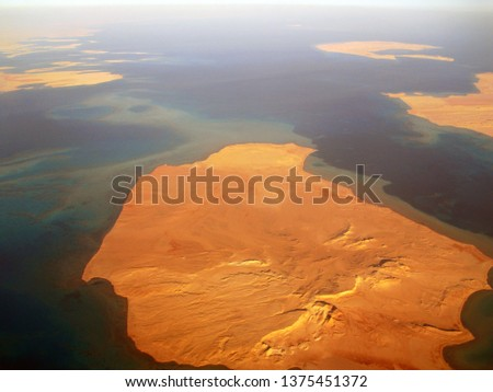 View from the plane to the Islands. The plane flies over the coastline of Israel Сток-фото ©