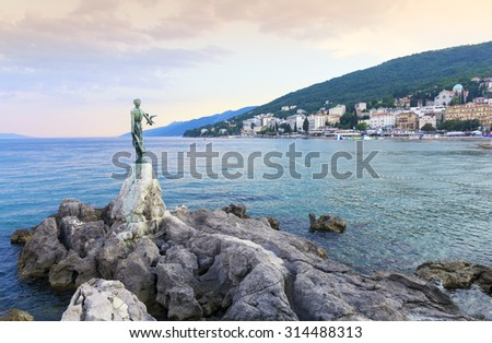 View from the Promenade of Opatija in Istria at evening,Croatia