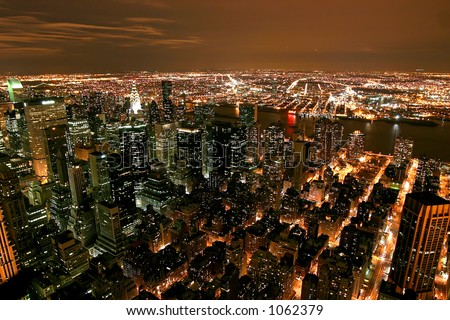 View from the Rockefeller building in new York - stock photo