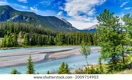View from the Rocky Mountaineer train traveling through the Rocky Mountains Stock photo ©