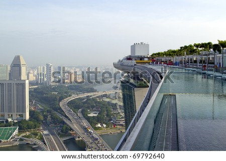View from the roof top pool at new Marina Bay Sands hotel in early morning, Singapore