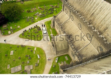 View from the Round Tower on churchyard and Cathedral Church of St Canice in Kilkenny, Ireland