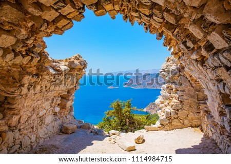 View from the ruin Monolithos Castle on Rhodes Island, Dodecanese, Mediterranean Sea, Greece #1114984715