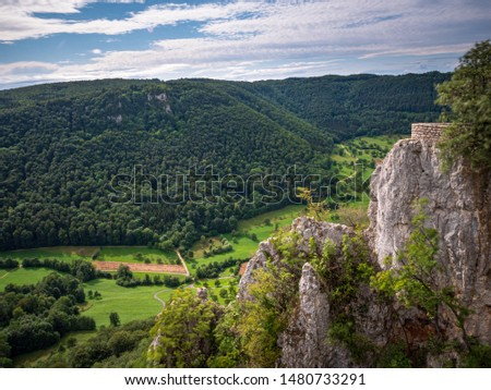 View from the Ruin Reussenstein across the beautiful landscape of the Alb and to Neidlingen Imagine de stoc ©