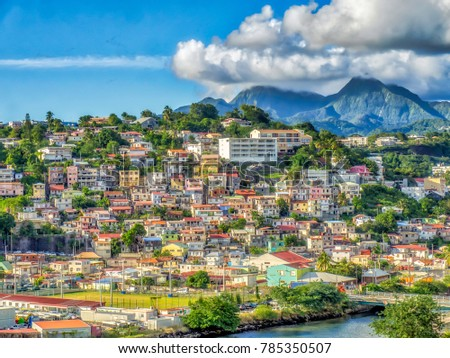 View from the sea of houses on hillsides in Fort-de-France, capital city of  Martinique, an overseas department of France.