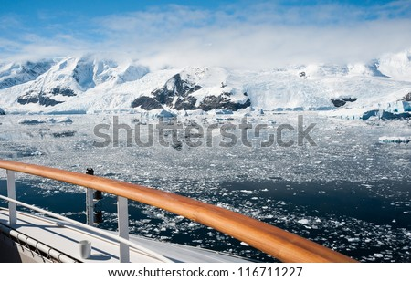 View from the ship to Antarctic bay