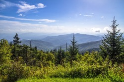View from the summit of Clingmans Dome in the Great Smoky Mountains.  At over 6000 ft above sea level this is the highest point of the Great Smoky Mountains National Park and the Appalachian Trail.