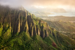 View from the summit of the Koolau Mountain range on the island of Oahu in Hawaii