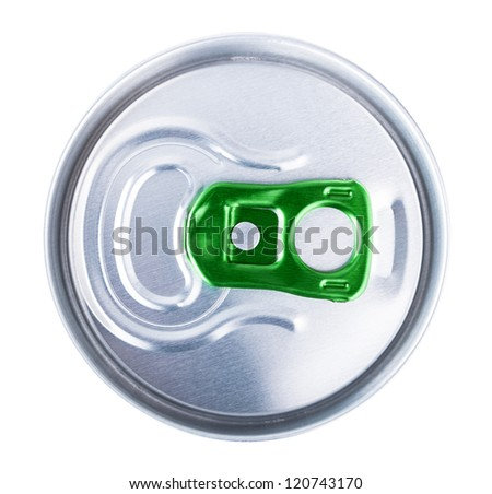 View from the top beer can on white background