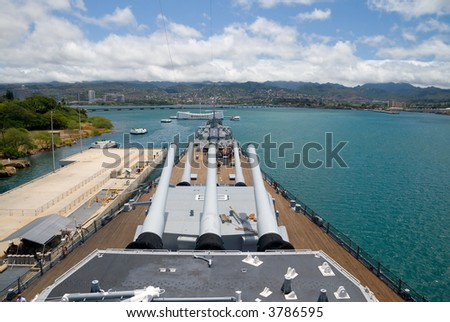 View from the top deck of the  U.S.S. Missouri in Pearl Harbor, Hawaii