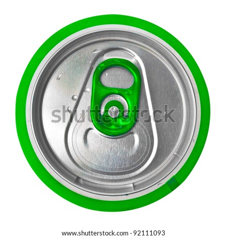 View from the top of a green beer or soft drink can isolated on white