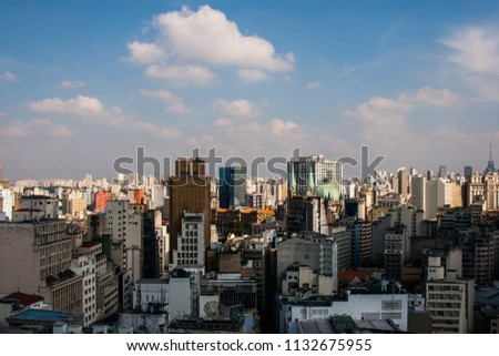 View from the top of a hotel building of dowtown of the San Paolo metropolis in Brazil.