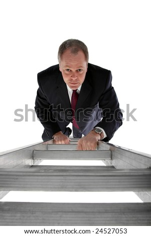View from the top of a ladder looking at a businessman climbing his way up