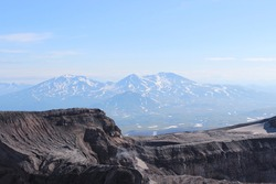 View from the top of Gorely volcano towards neighboring Mutnovsky volcano