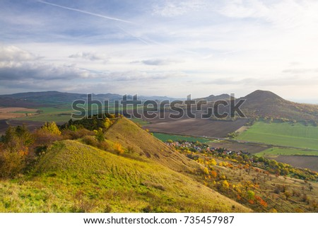 View from the top of Rana hill. Autumn scenery in Central Bohemian Highlands, Czech Republic