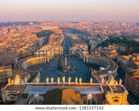 View from the top of St. Peter's Basilica in the Vatican City, Rome, Italy