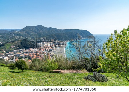 view from the top of the beach of Riva Trigoso, fraction of Sestri Levante Stock photo ©
