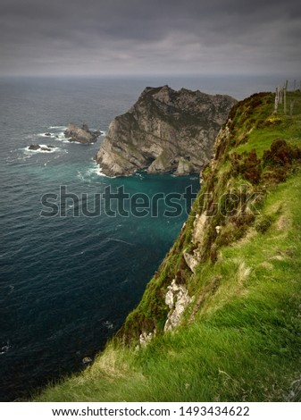 View from the top of the cliffs near Glencolumbkille, Co. Donegal over the Atlantic Ocean #1493434622