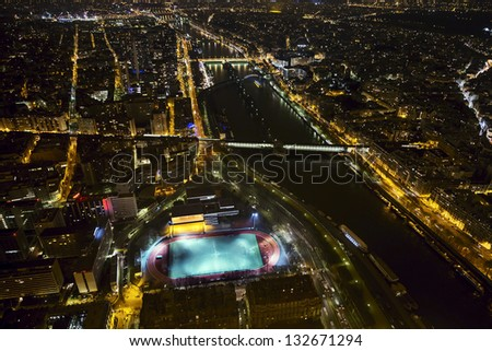 View from the top of the Eiffel Tower at night, Paris, France
