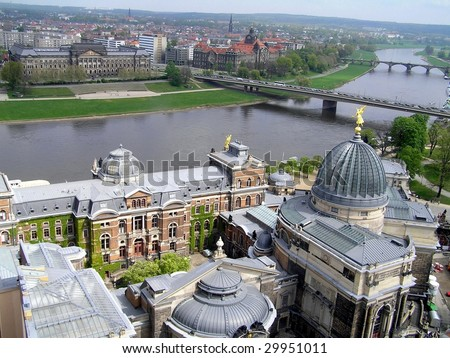 View from the top of the Frauenkirche (church) in Dresden, Germany - stock photo