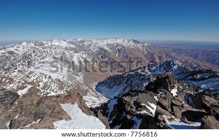 View from the top of the mt Toubkal. Highest mountain in the North Africa. Morocco. High-Atlas.