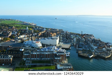 View from the top of the Spinnaker Tower in Portsmouth, UK.