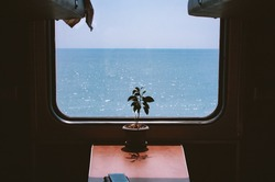 View from the train window to the calm blue sea. Beautifully shimmer glare on the waves. There is a flower on the table. Sochi, Russia