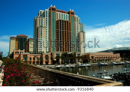 View from the waterfront side of the Convention Center, Tampa, Florida, USA.