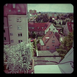 View from the window. Cityscape on the aesthetic Holga Lomography.