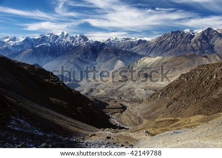 View from Thorung la Pass.  Annapurna Conservation Area. Nepal