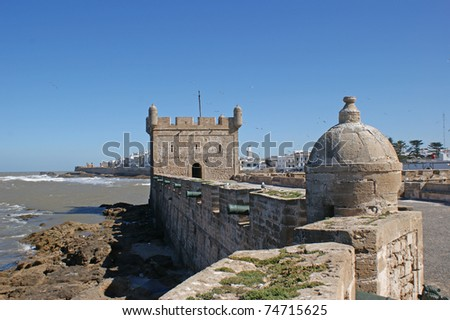 View from thr walls of the fortress to Essaouira which is a touristic and windy city in the western Moroccan region on the Atlantic coast.