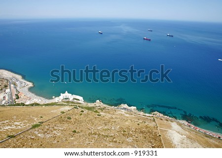 View from tip of Rock of Gibraltar looking out to sea and the Spanish coast beyond