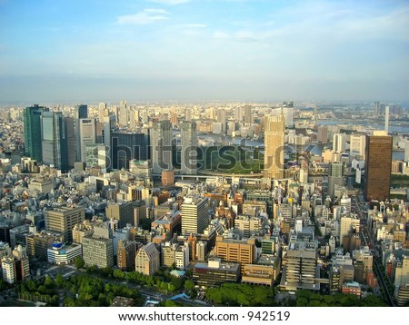view from tokyo tower, japan.