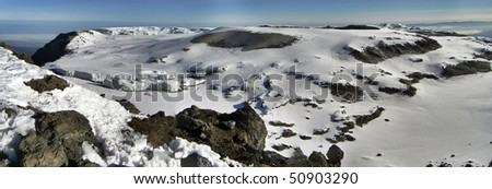 View from top of Mt. Kilimanjaro, the roof of Africa, the highest mountain of Africa.