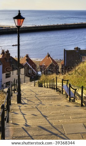 View from top of 199 steps leading from Whitby Abbey to seafront, Whitby town, North Yorkshire, England