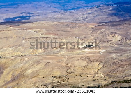 View from top of the Mount Nebo to the Jordanian desert valley.