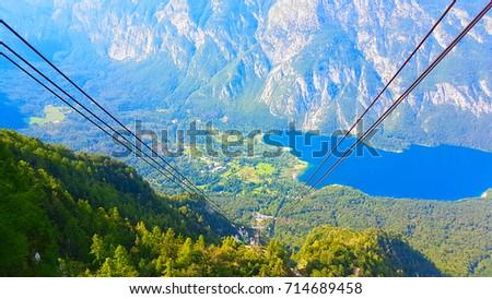 view from top vogel mountain on bohinj lake slovenia Stockfoto ©