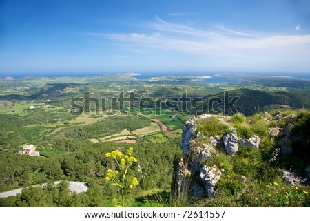 view from Toro Mountain at Menorca island in Spain