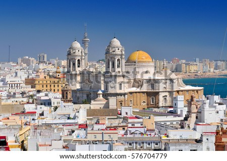 Shutterstock View from Torre Tavira tower to Cadiz Cathedral, also New Cathedral, Cadiz, Costa de la Luz, Andalusia, Spain.