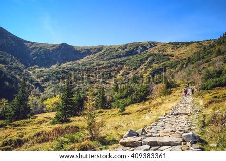 View from trail to Sniezka - Karkonosze Mountains Zdjęcia stock ©
