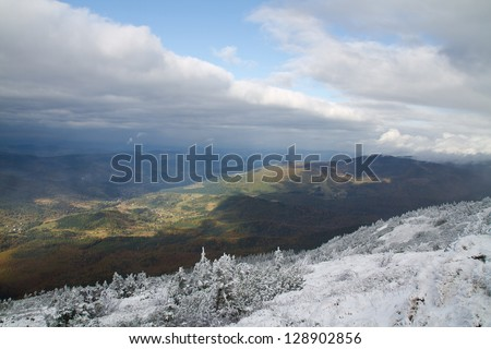 View from trail to the Babia G�³ra Peak from Beskidy mountains, border of Poland and Slovakia