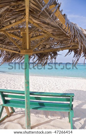 View from under a beach hut in the tropics.