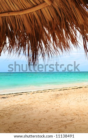 View from under palm leaves shelter onto tropical beach of a Caribbean island
